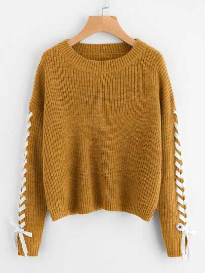 Plus Lace Up Sleeve Sweater