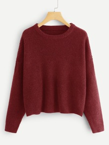 Drop Shoulder Round Neck Sweater