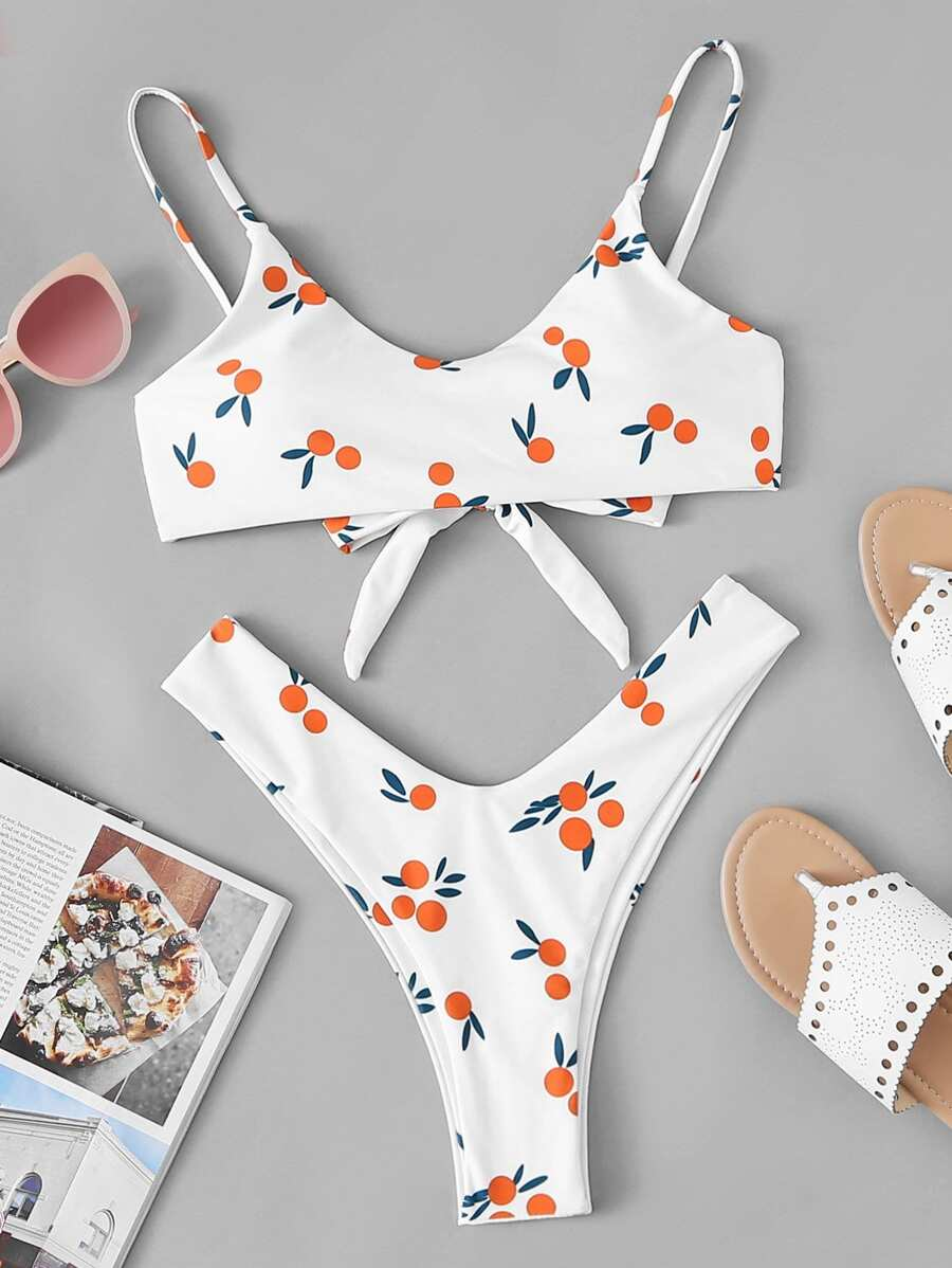 18ae7397c271f Shoptagr | Random Fruit Print Top With High Leg Bikini Set by Sheinside