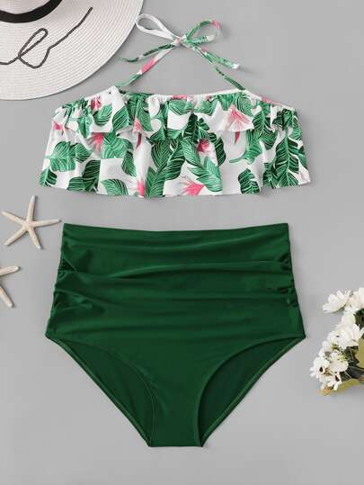 afabc4f65a Jungle Print Halter Ruffle Top With High Waist Bikini | SHEIN UK