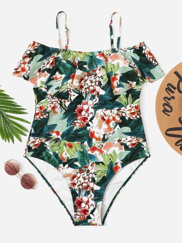 e906c953023c0f Plus Floral Print Flounce One Piece Swimsuit | SHEIN