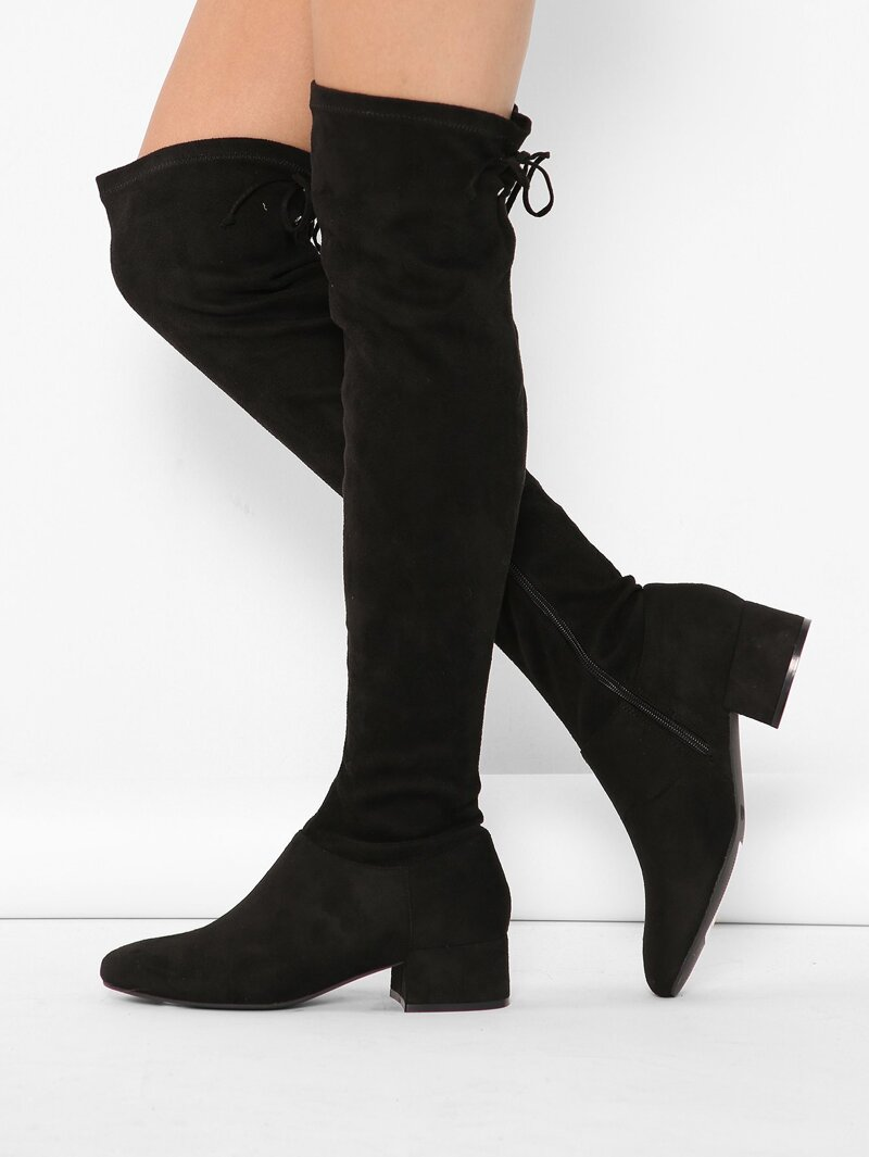 7335479693c Pointy Toe Chunky Low Heel Thigh High Boots