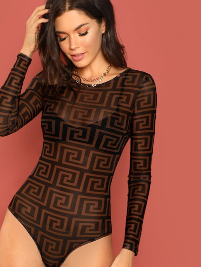 Greek Fret Print Mesh Bodysuit Without Bra