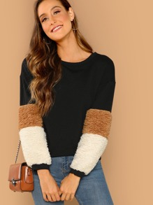 Contrast Faux Fur Drop Shoulder Pullover