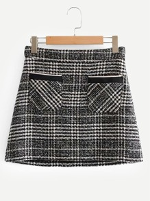 Pocket Detail Plaid Tweed Skirt
