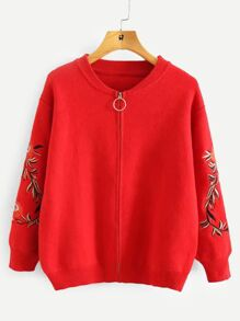 Embroidery Detail Zipper Fly Sweater