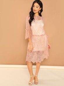 Frill Trim Lace Dress With Cami