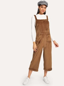 Dual Pocket Pinafore Velvet Jumpsuit
