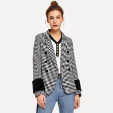 Double Breasted Houndstooth Outerwear