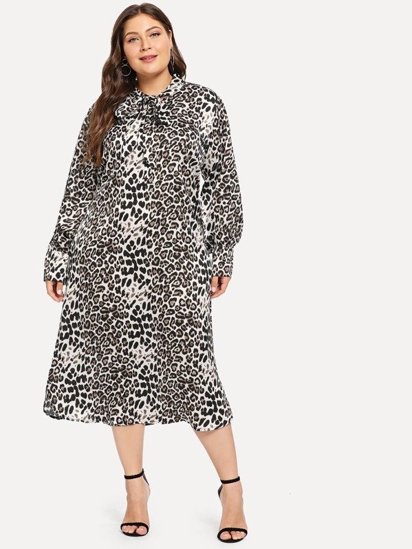 Plus Leopard Print Dress