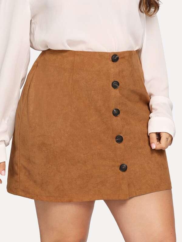 c1b8000b24b Plus Button Front Suede Skirt   SHEIN