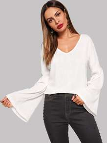 Bell Sleeve V-Neck Jumper
