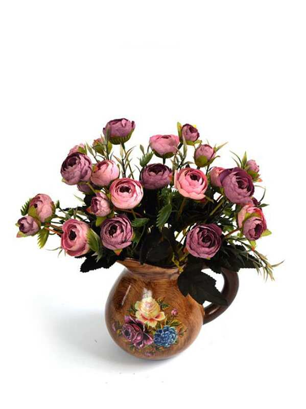 ebb8c1e6cf Artificial Flowers With Teapot Shaped Vase | SHEIN
