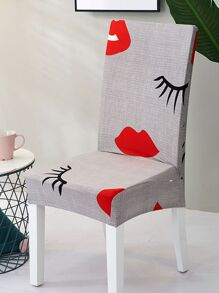 Mouth Print Stretchy Chair Cover 1pc