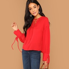 Drop Shoulder Knot Neck Blouse