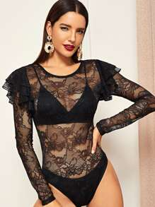 Ruffle trim Sheer Lace Bodysuit Without Bra