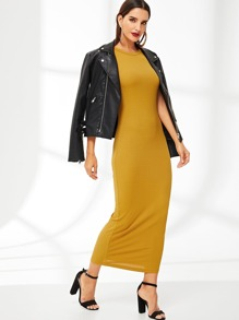 Slim Fitted Solid Dress