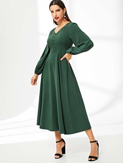 Covered Button Blouson Sleeve Solid Flared Dress