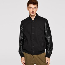 Men Button Up Pu Sleeve Jacket