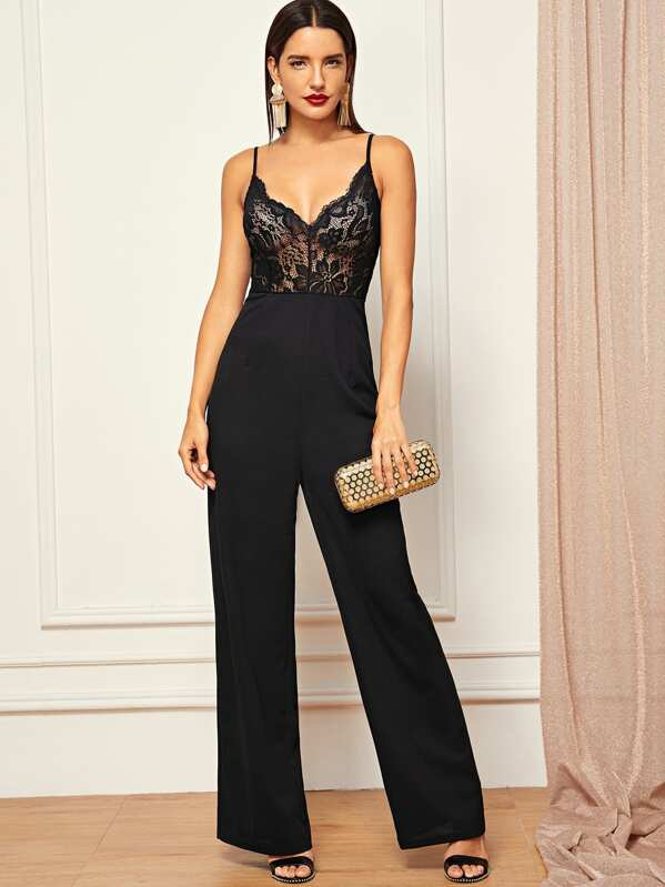 a0cbeeeee6 Sheer Lace Bodice Straight Leg Cami Jumpsuit