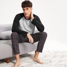SHEIN   Men Color Block Plaid Pajama Set   Goxip