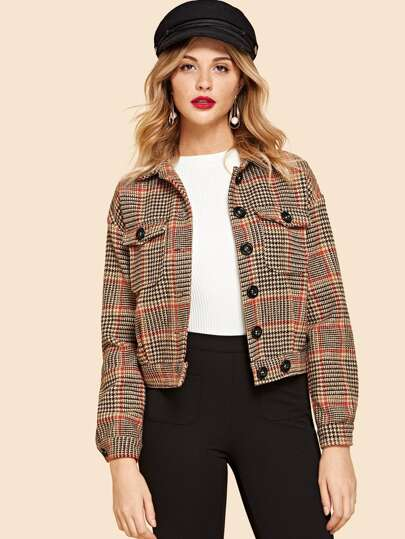 Flap Pocket Front Houndstooth Utility Jacket