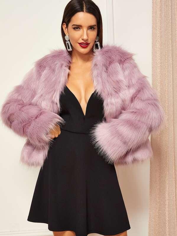 5c29957a97 Open Front Faux Fur Coat   SHEIN