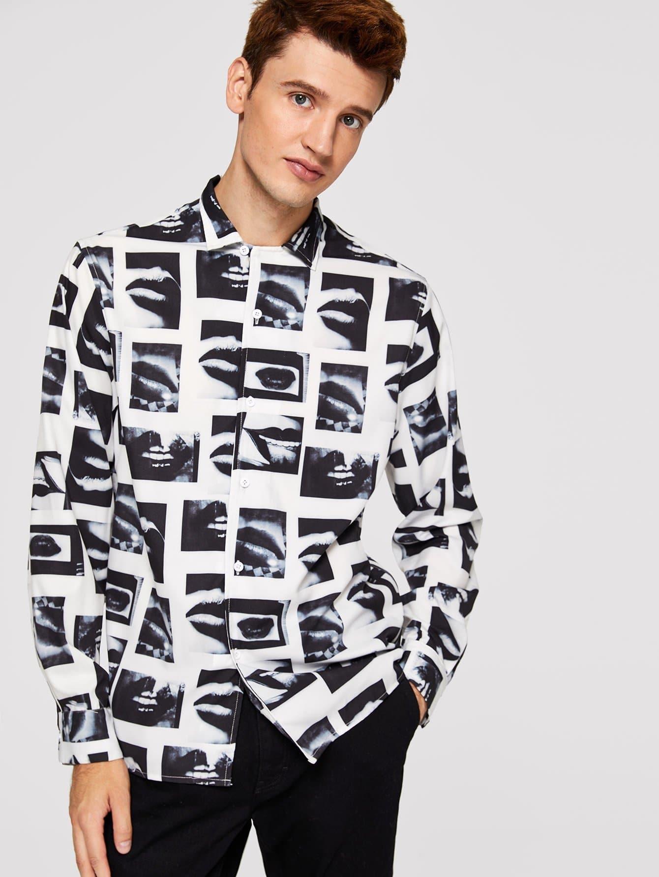 Men Graphic Print Shirt Men Graphic Print Shirt