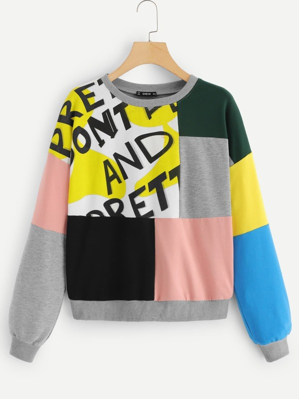 Color Block Letter Pullover by Shein