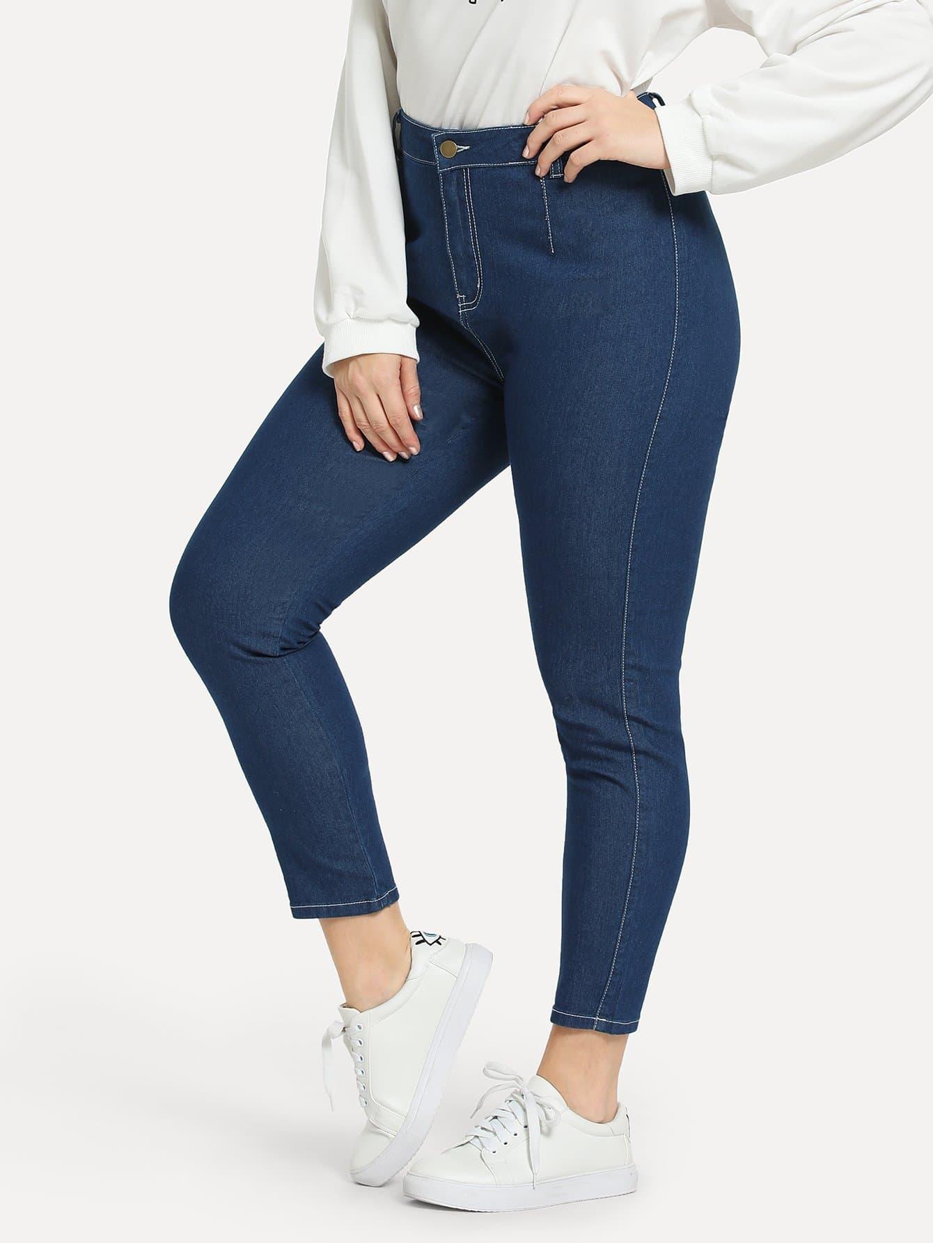 Plus Contrast Stitch Skinny Jeans thumbnail