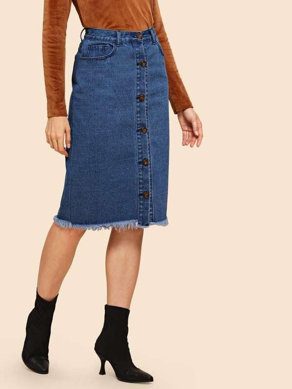 0ad99f54a42 Raw Hem Button Up Denim Skirt   SHEIN