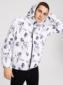 Men Zip Up Hooded Floral Jacket