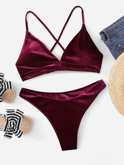 Cross Back Top With High Cut Velvet Bikini Set