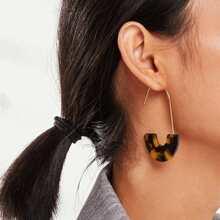 Leopard Pattern Half Round Drop Earrings