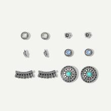 Leaf & Flower Stud Earrings 6pairs