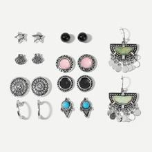 Star & Shell Detail Stud Earrings 9pairs
