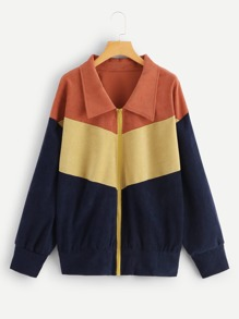 Plus Color-Block Zipper Up Jacket