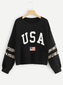 Contrast Sequin Letter And Flag Print Sweatshirt