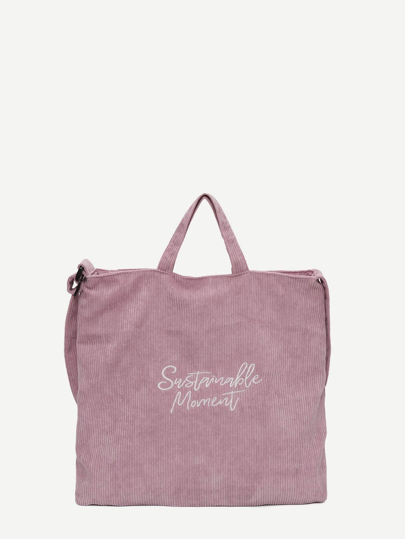 Slogan Embroidered Corduroy Shopper Bag