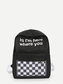 Slogan Print Gingham Detail Backpack