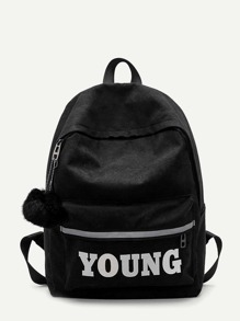 Pom Pom Decor Slogan Print Backpack