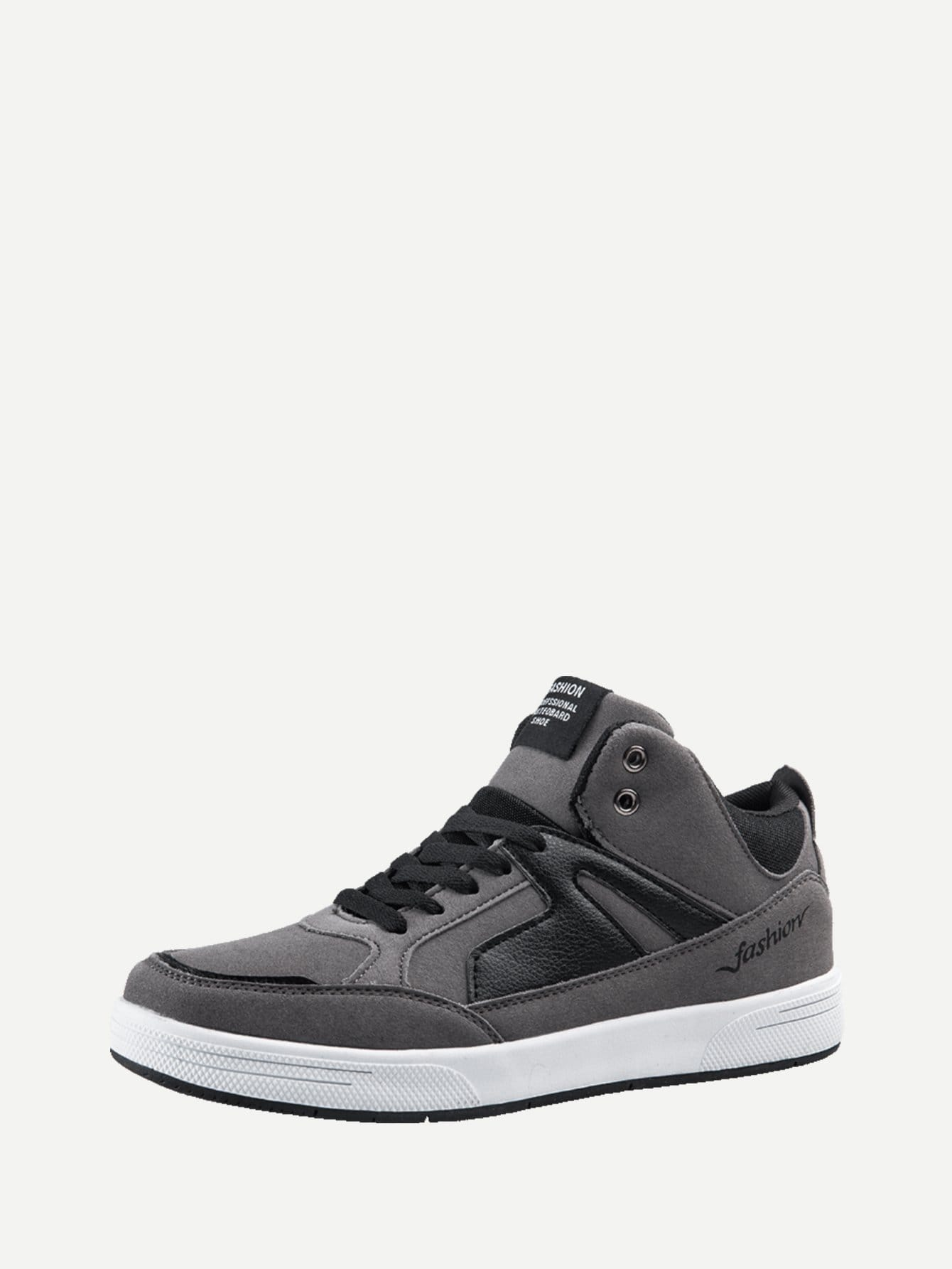 Men PU Panel Lace Up Sneakers