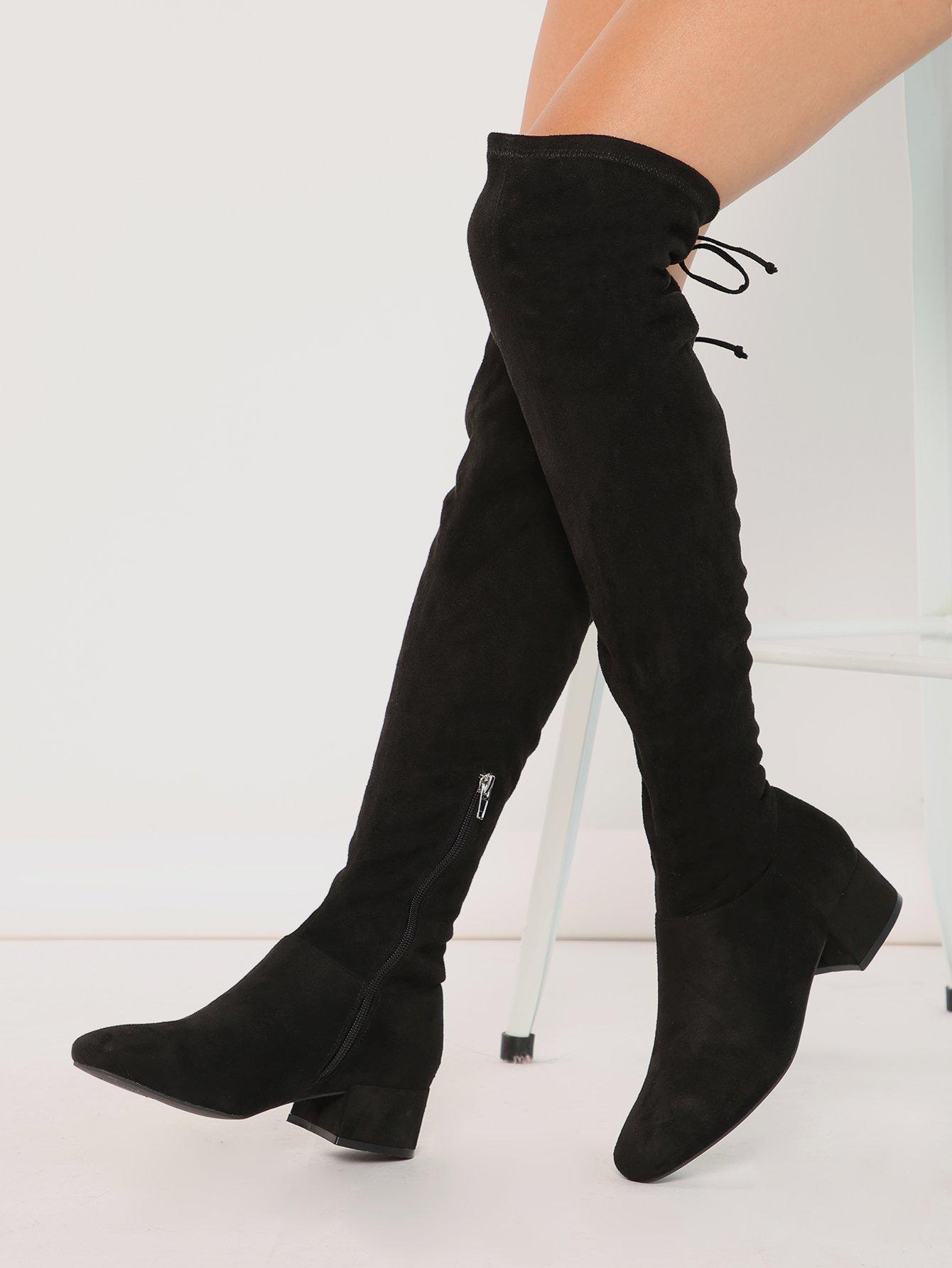 Block Heel OTK Thigh High Drawstring Boots