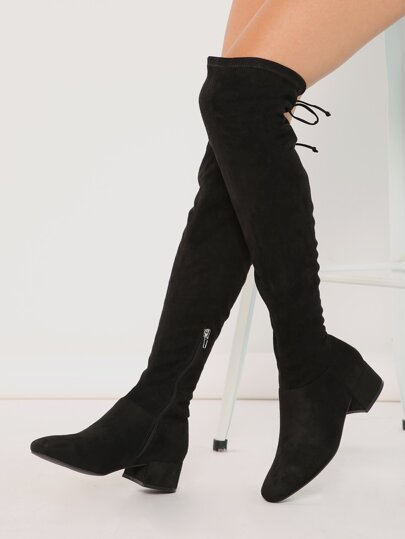 e89d5596f Block Heel OTK Thigh High Drawstring Boots