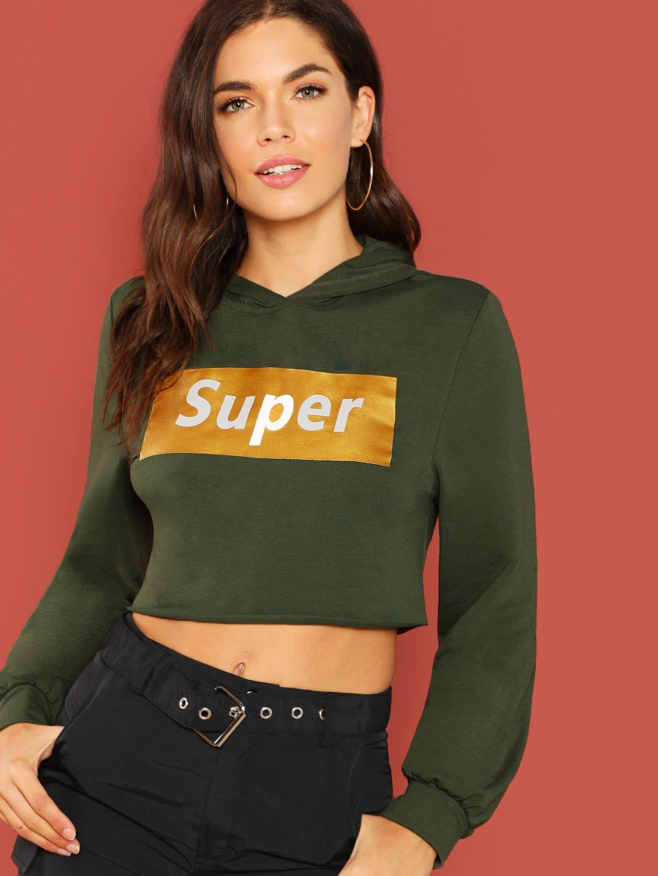 Crop hoodie mit buchstaben shein for Mobel 9 buchstaben