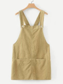 Pocket Detail Corduroy Solid Pinafore Dress