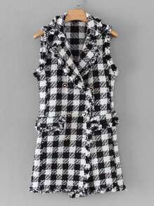 Double Breasted Plaid Tweed Outerwear