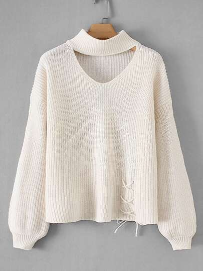 Drop Shoulder Lace- Up Solid Jumper