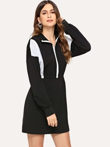 Colorblock Zip Front Dress