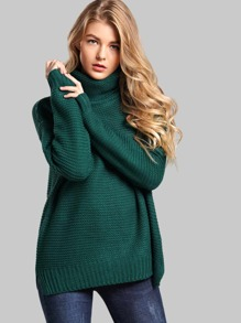 Split Side High Neck Sweater